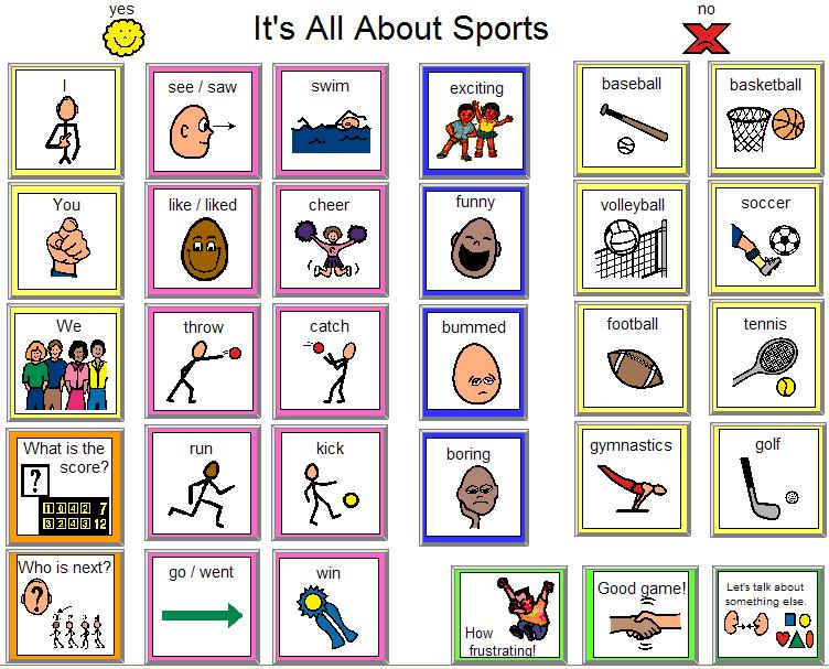 communication board sports